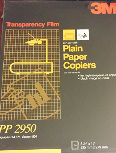 - 3M PP2950 Copier Transparency Film, 8-1/2-Inch X 11-Inch, 100 Per Box, Black on Clear