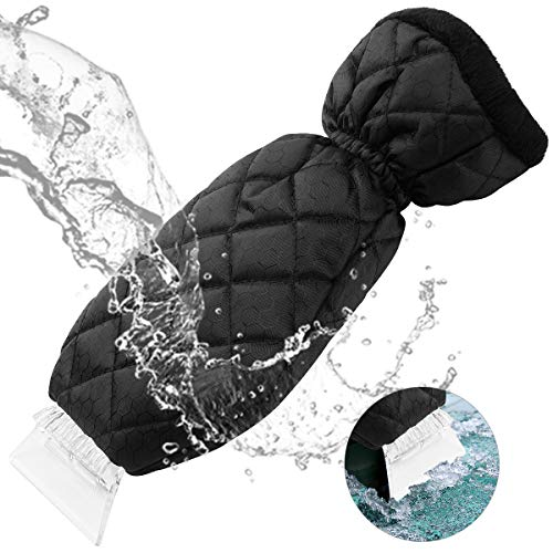 YIBEICO Ice Scraper for Car Windshield, Windscreen Snow Ice Scraper with Waterproof Glove Lined of Thick Plush (Black)