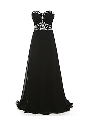 Strapless Ruched A Line Floor Length Chiffon Formal Dress Evening Gowns Black,Size 2