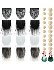 12 Pieces Pre-Cut Gnome Beard Pure White Costume Beard Faux Fur Dwarf Beard Handmade Gnome Beard Fake Fluffy Gnome Beard 20 Pieces Small Unfinished Wooden Balls for Christmas Decor