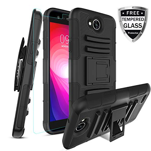 LG X Power 2 Case/LG Fiesta 2 LTE/LG X Charge/LG Fiesta LTE with [Tempered Glass Screen Protector] Built-in Kickstand Swivel Combo Holster Phone Belt Clip Heavy Duty Shockproof Case(Black)