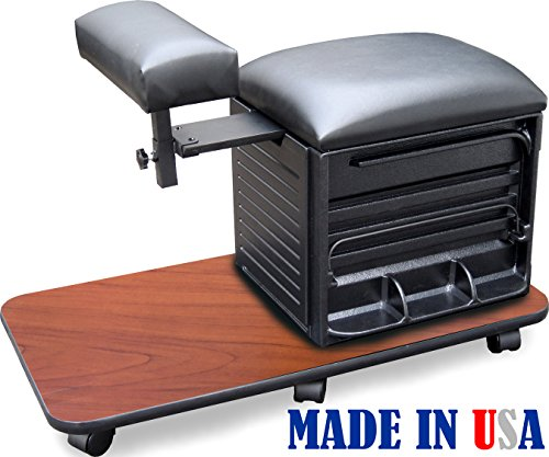 2317-CHRY Salon Spa PEDICURE NAIL STATION STOOL w/Footrest Made in USA by Dina Meri