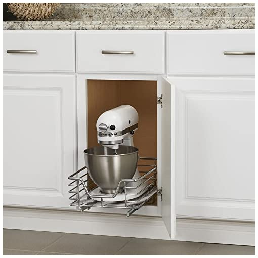 Kitchen Household Essentials C1217-1 Glidez Sliding Organizer – Pull Out Cabinet Shelf – Chrome – 11.5 Inches Wide pull-out organizers