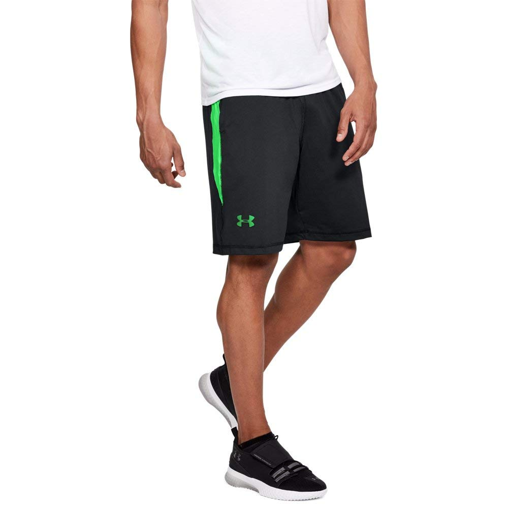 Under Armour Men's Raid 10-inch Workout Gym Shorts, Black (014)/Arena Green, X-Large by Under Armour