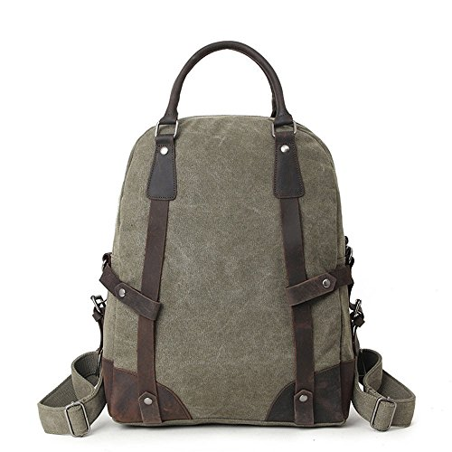 Rucksack Stoff Tasche Mode Handtasche Casual Schultern Computer Männer Handtasche Verdicken Verstärkte Daypacks Wandern Camping Trekking Jagd Grün