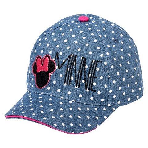 [Toddler Girls' Minnie Mouse Polka Dot Baseball Hat - Denim Blue] (Baseball Girl Costume)