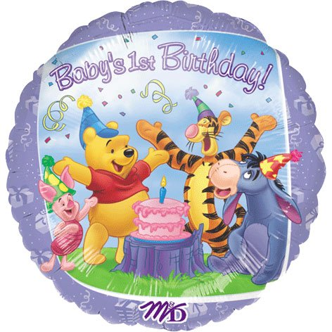 Anagram International Pooh and Friends 1st Birthday Foil Balloon Pack, 18