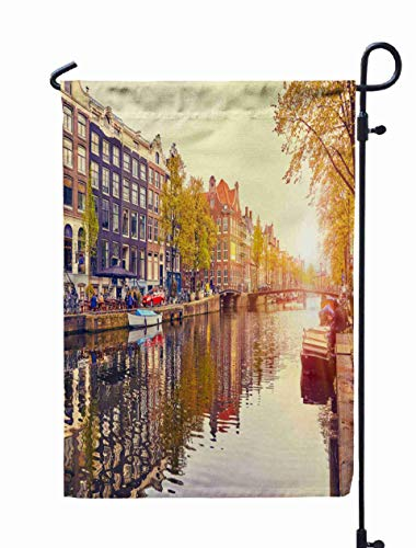 Shorping Thanksgiving Garden Flag, 12x18Inch for Holiday and Seasonal Double-Sided Printing Yards Flags Channel in Amsterdam Netherlands Houses River Amstel Landmark Old Europe