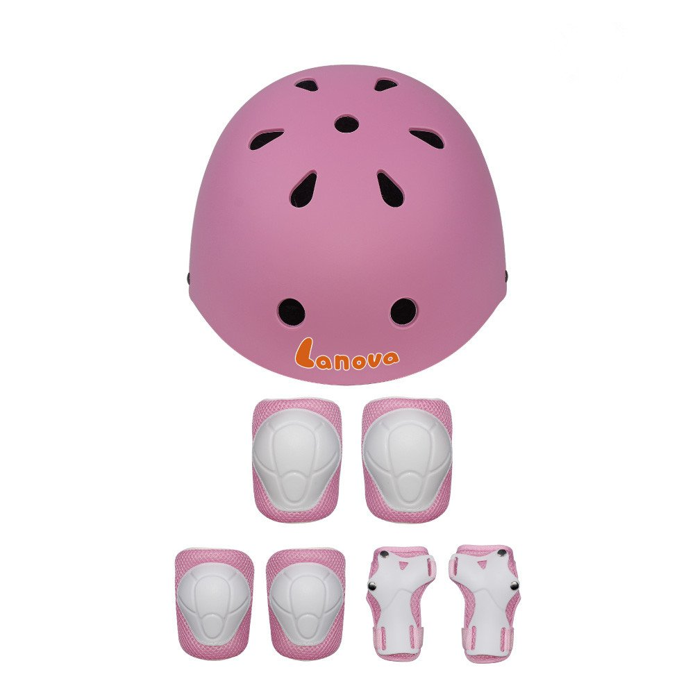 LANOVAGEAR Kids Toddler Cycling Bicycle Protective Gear Set 7pcs Boy Girl Adjustable Helmet Elbow Knee Wrist Pads for Multi Sports Skateboarding Rollerblading Bike