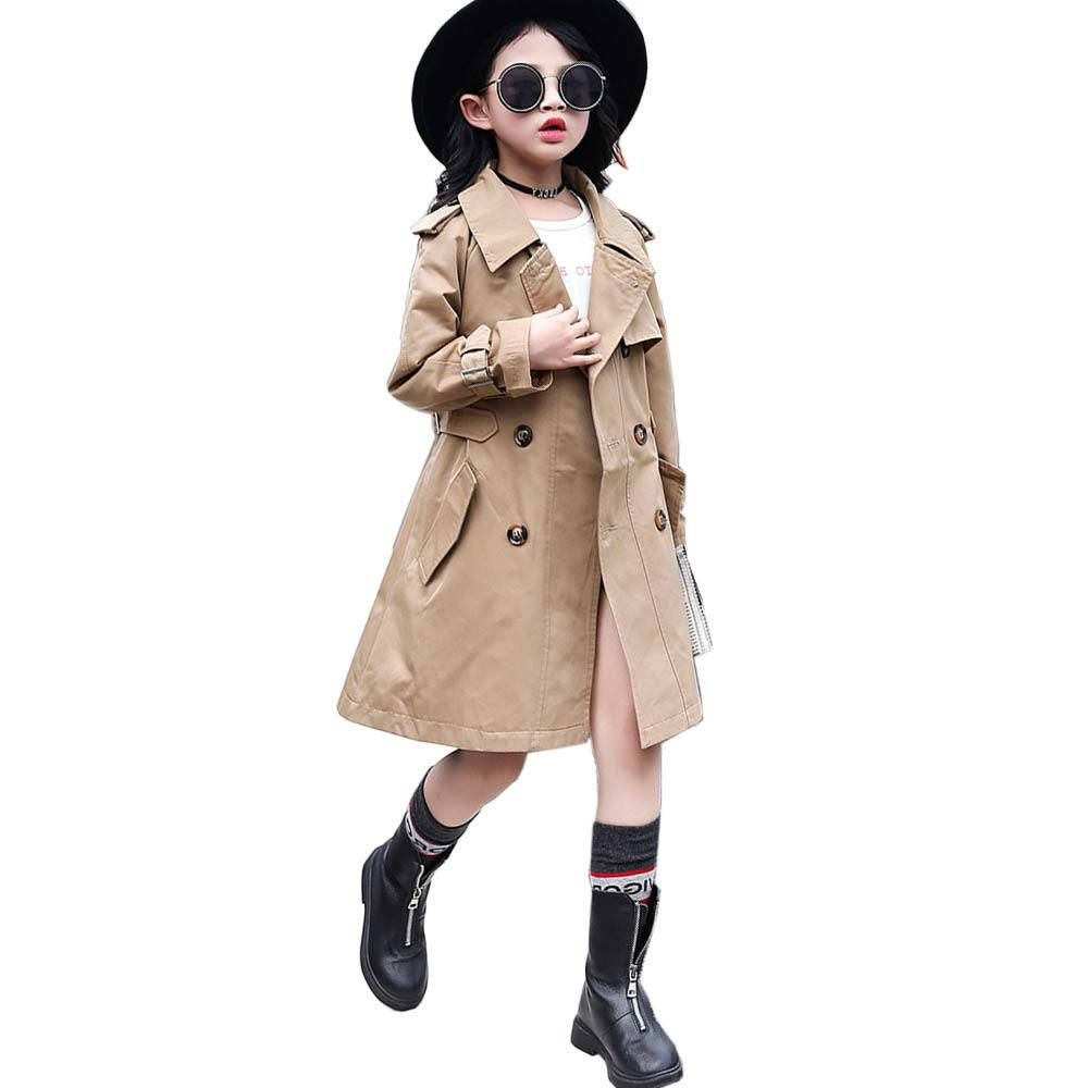 Girls Classic Double Breasted Trench Jacket Coat Spring Fall Trenchcoat Outwear