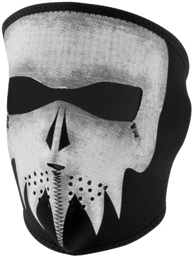 Zan Headgear Neoprene Full Face Mask , Gender: Mens/Unisex, Primary Color: Black, Distinct Name: Glow Gray Skull, Size: OSFM WNFM081G