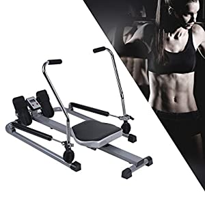 Homgrace Body Glider Rowing Machine, 250 lb Weight Capacity and LCD Monitor Home Gym Training Exercise Equipment (black & white)