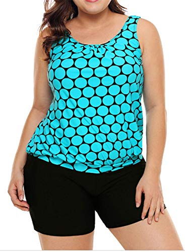 -Piece Bathing Suit Color Polka Dot Tankini Top and Short Swimsuit Cyan L ()