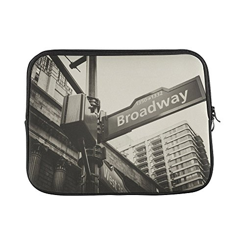 InterestPrint Broadway and West 36th Street Sign York City NYC Laptop Sleeve Case Waterproof Neoprene Notebook Bag 13 13.3 Inch for MacBook Pro Air HP Dell Lenovo Acer Woman Man -
