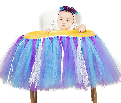 Tutu Dreams Mermaid Tutu Skirt for High Chair Tulle Table Cloth Baby Girls Birthday Party Supplies (Mix-02) -