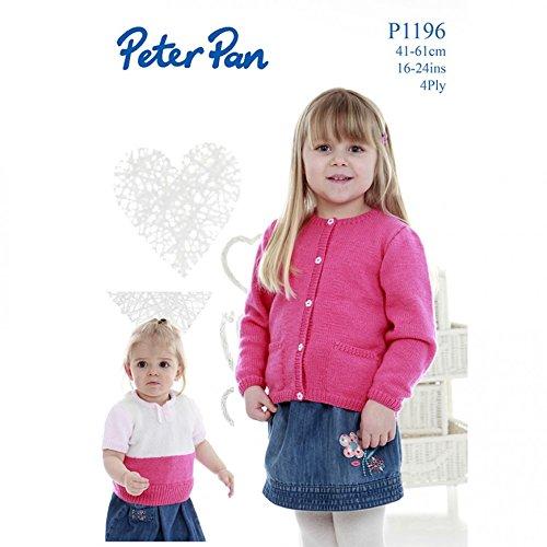 Peter Pan Girls Cardigan & Sweater Knitting Pattern 1196 4 Ply