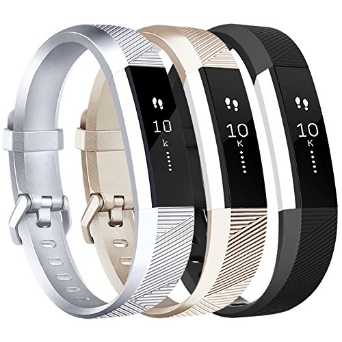 Vancle for Fitbit Alta HR/Ace Bands and Alta Bands, Adjustable Replacement Accessories Wristbands for Fitbit Ace/Alta and Alta HR, Silver Gold Black, Large