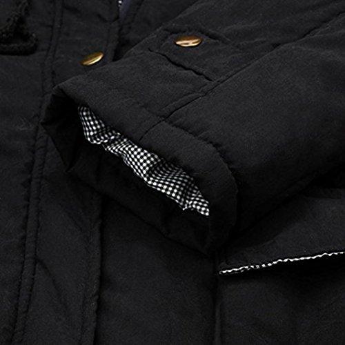 Chaqueta Capucha Mujeres de Parka Piel Chaqueta con Trench de Rebecas Coat Abrigo Lnvierno Desgastar de Largo Cuello Caliente Negro PqPYp
