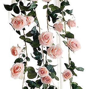 wintefei 180cm Artificial Rose Flower Ivy Vine String Hanging Home Wedding Party DIY Decor Giftation 90