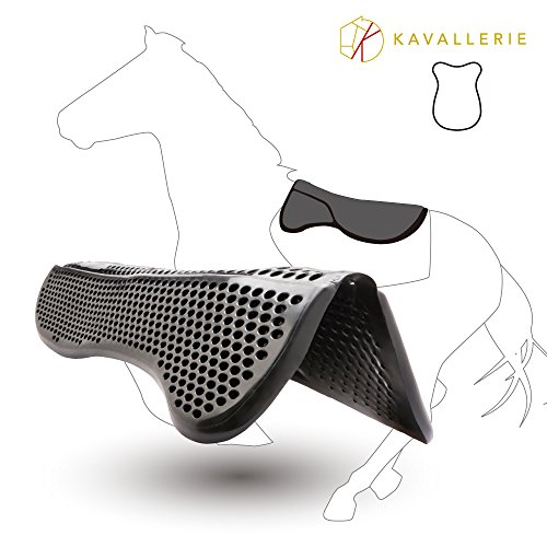 Kavallerie Gel Half Pad/Saddle Pad - Impact Absorbing Design for Comfort - Prevent Saddle Bridging or Sore Back - Breathable & Washable - Perfect for Eventing, Schooling, Dressage, Jumping, Training>
