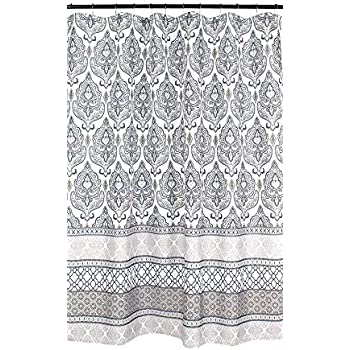Floral Damask Geometric Border Charcoal Grey Tan White Fabric Shower Curtain
