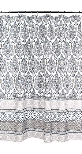 Charcoal Grey Tan White Fabric Shower Curtain: Floral Damask with Geometric Border Design (Tan Damask Shower Curtain)
