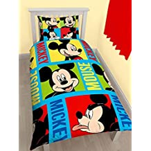 OFFICIAL LICENSED MICKEY MOUSE BLUE RED CANADIAN TWIN (COMFORTER COVER 135 X 200 - UK SINGLE) (PLAIN WHITE FITTED SHEET - 91 X 191CM + 25 - UK SINGLE) 3 PIECE BEDDING SET