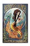 Redondo Beach, California - Mermaid (Acrylic Wall Clock)