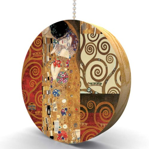 Gustav Klimt The Kiss Collage Hardwood Oak Fan / Light ()