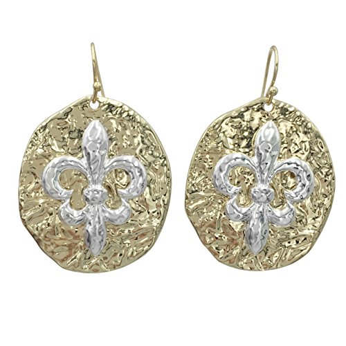 2 Tone Oval Hammered look Fleur de lis Dangle Earrings (Silver Tone on Gold Tone) (Shell Two Tone)