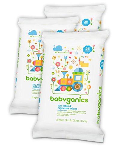 Babyganics jouet, tableau & chaise haute lingettes, gratuit, parfum 25 compter (Pack de 3, 75 Total des lingettes)