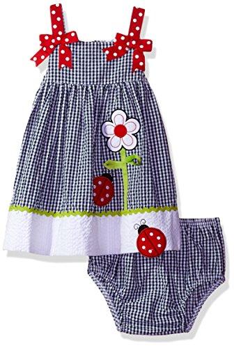 Rare Editions White Dress (Rare Editions Baby Girls' Seersucker Dress, Navy/White/Red, 24M)