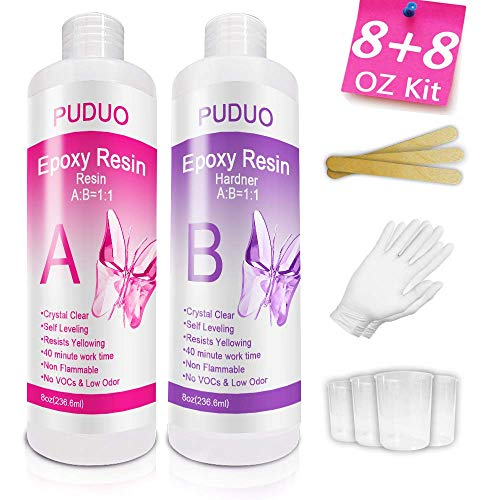 Epoxy-Resin-Crystal-Clear-Kit for Art, Jewelry, Crafts, Art & Non-Toxic Resin - 16 Ounce  | Bonus 4 pcs Graduated Cups, 3pcs Sticks, 1 Pair Rubber Gloves