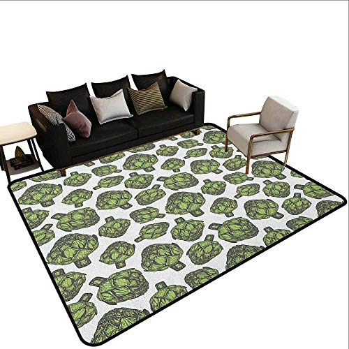 Indoor Carpet Artichoke,Detailed Drawing of Super Foods Fresh Vitamin Sources Natural Nutrition Source, Forest Green from MsShe