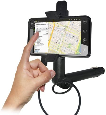 Black Retail Packaging Amzer AMZ93410 Lighter Socket Phone Car Mount with Charging and Case System for HTC EVO 3D and Sprint HTC EVO 3D