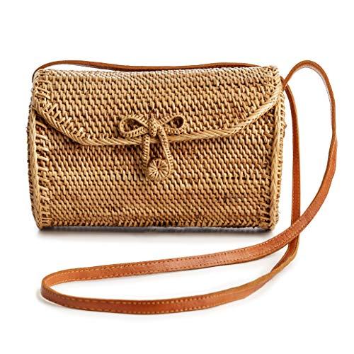 (Rattan Bags for Women - Handmade Wicker Woven Purse Handbag Circle Boho Bag Bali)