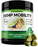 PetHonesty Hemp Hip & Joint Supplement for Dogs w/Hemp Oil + Hemp Powder - Glucosamine Chondroitin for Dogs w/Turmeric, MSM, Green Lipped Mussel, Dog Treats Improve Mobility, Reduces Arthritis 90 Ct