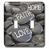 3dRose Andrea Haase Still Life Photography - Black Pebble With Engraved Words Love Faith Hope - Light Switch Covers - double toggle switch (lsp_268540_2)