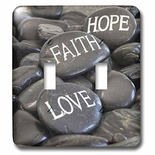 3dRose Andrea Haase Still Life Photography - Black Pebble With Engraved Words Love Faith Hope - Light Switch Covers - double toggle switch (lsp_268540_2) by 3dRose