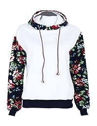 Jubileens Women's Floral Printed Long Sleeve Hooded Pullover Hoodies Sweatshirt