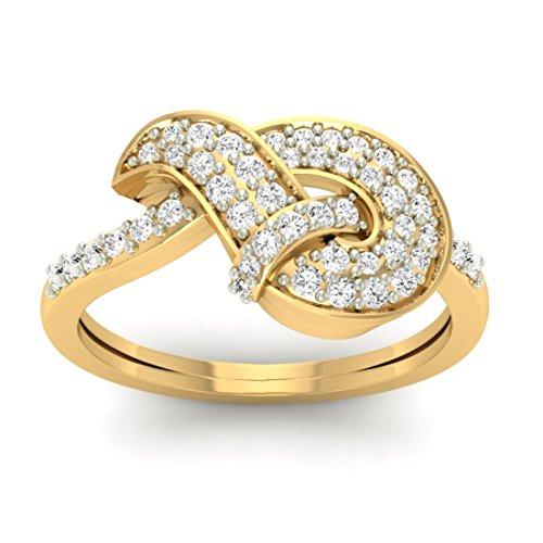 18K Or jaune 0,40CT TW Round-cut-diamond (IJ | SI) en diamant