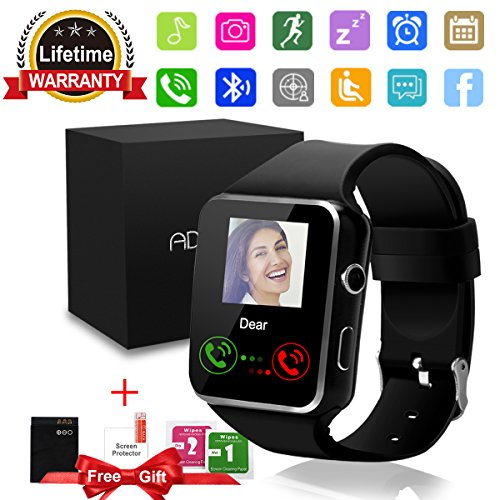 Smart Watch Bluetooth Smartwatch with Camera TouchScreen SIM Card Slot, Waterproof Phones Unlocked Smart Wrist Watch Sports Tracker for iPhone IOS Android Kids Men Women (Black Smart Wtach)