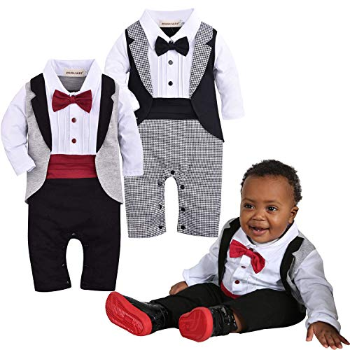 ZOEREA Baby Boys Tuxedo Outfits Gentleman Romper Jumpsuit with Bow Tie Wedding Suit 3-18 Months