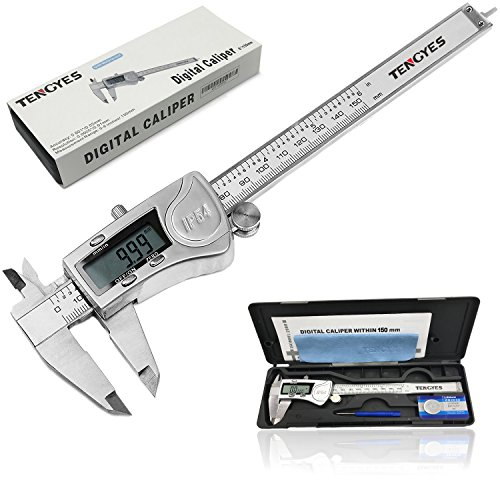 TENGYES Digital Caliper, Stainless Steel Electronic Vernier Caliper 6 inch/150 mm, IP54 Waterproof Accurate Measuring Tool with Large LCD Screen Inch/Fractions/Millimeter Conversion by TENGYES