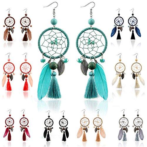 LeNG Fashion Ethnic Wind Wedding Jewelry Bohemian Crystal Beads Leaf Dream Catcher Cotton Tassel Earrings For Women,black by LeNG Earrings (Image #2)
