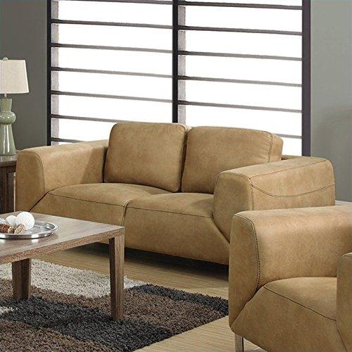 Monarch Specialties I I 8512TN Contrast Micro-Suede Love Seat, Tan/Chocolate Brown