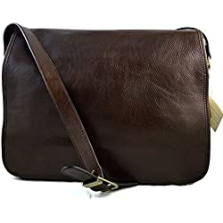 Bolso messenger de piel bandolera de cuero bolso cartero bolso de hombre piel cartera de cuero bolso de espalda maletin de piel marron orscuro