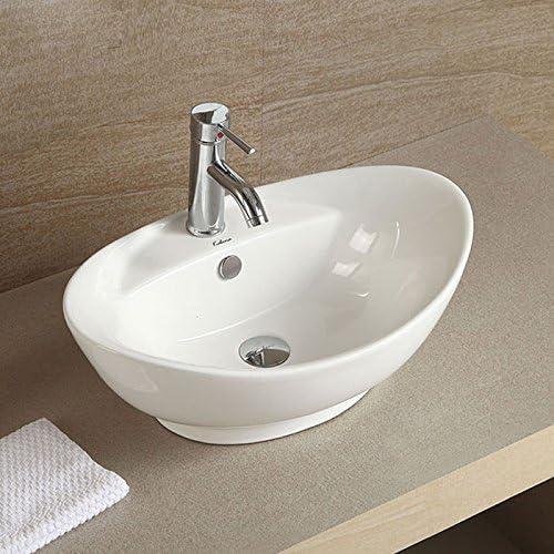 White Oval Ceramic Above Counter Basin Vessel Vanity Sink Art Basin Bathroom Sink Cl-1038