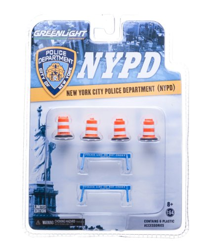 GreenLight NYPD Road Accessory Pack Series 1 Car (4X NYC DOT Traffic Barrels, 2X Police Line Do Not Cross Barriers) (1:64 Scale) (Do Not Cross)