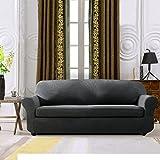 Subrtex 2-Piece Jacquard Spandex Stretch Sofa Slipcover (Gray, Sofa)